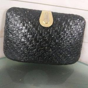 Vintage Woven Texture Black w Gold Detail Clutch